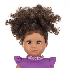 Mixed Race/Biracial/Light Brown Doll with Brown Curly Hair Mixed Boy, Brown Curly Hair, White Underwear, Mixed Race, Handmade Dresses, White Hair, White Shoes, Lilac, Curls