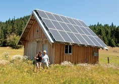 The PV system on the barn has 21 Samsung 247 W PV modules for a total of 5,187 W. The system is mounted on a purpose-built power shed with a roof tilt equal to the site's latitude to optimize off-grid winter production. | Home Power Magazine