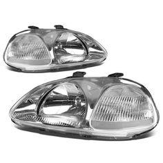 For 96-98 Honda Civic Replacement HeadLight Lamp Assembly (Chrome Housing) - EJ EM EK 97