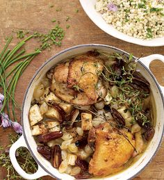 Gail Simmons' Red Wine-Braised Chicken Thighs with Celery Root, Pearl Onions, and Dates over Herbed Israeli Couscous #recipe paired with Estancia #PinotNoir