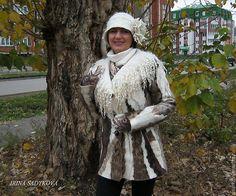 """Купить Пальто валяное """"Дикарка"""" - белый, натуральный цвет, эко-стиль, пальто, пальто из шерсти"""