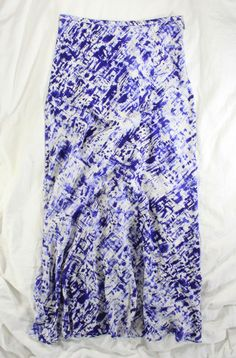 ***TIE-DYE FOR!!!***$390 GRYPHON 'RIPPLE' SKIRT IN PURPLE AND WHITE SILK*S #Fashion #Style #Deal