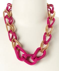 Another great find on #zulily! Hot Pink & Gold Adara Necklace #zulilyfinds