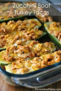 Low calorie, low carb, low fat but high flavor Zucchini Boat Turkey Tacos are the perfect option for a healthier taco night!