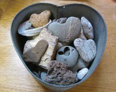 a heart tin full of heart rocks. I've been collecting heart shaped pebbles for years, I only have five. Key To My Heart, With All My Heart, Happy Heart, Heart In Nature, Heart Art, Heart Shaped Rocks, Rock And Pebbles, Heart Images, Heart Crafts