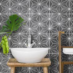 KASAI TILE Stencil A fabulous bathroom stencil idea! Our Kasai tile stencil would look right at home in a modern interior decor Stencil Diy, Stencil Painting, Stencil Designs, Stenciling, Painting Walls, Bathroom Stencil, Bathroom Floor Tiles, Wall And Floor Tiles, Bath
