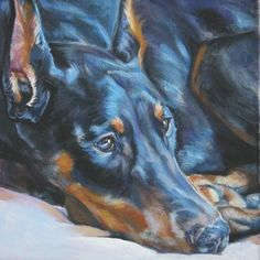 Doberman Pinscher art print CANVAS print of LA by TheDogLover, $19.99