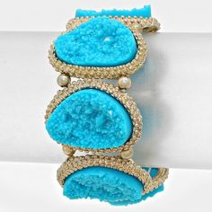chunky druzy style bracelet Gorgeous turquoise colors with gold accents - stretch bracelet last photo is my wrist which is very large and this fits fine with no gapping Jewelry Bracelets