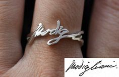 Personalized Handwriting Ring - Sterling Silver - Any Symbol Any Language is Possible on Etsy Cute Jewelry, Jewelry Box, Silver Jewelry, Jewelry Accessories, Unique Jewelry, Jewlery, Argent Sterling, Sterling Silver Rings, Bling Bling