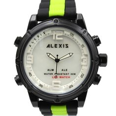 >> Click to Buy << ALEXIS BRAND Mens Watches Alarm BackLight Water Resist Silicone Black with Green tone Band Analog Digital led Watch montre homme #Affiliate