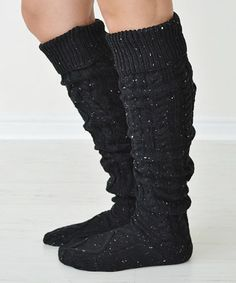 Look at this #zulilyfind! Black Cable-Knit Carley Knee-High Socks #zulilyfinds