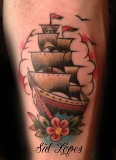 Traditional Sailboat TATTOO Artist: Sid Lopes Tattoo for appointments and more tattoos https://www.facebook.com/sidartista http://www.7tattoogallery.com/ @7TATTOOGALLERY