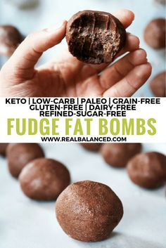 These Fudge Fat Bombs are the ultimate ketogenic dessert! This recipe is keto low-carb paleo grain-free gluten-free dairy-free vegetarian vegan & refined-sugar-free! Trying for a friend that's doing keto Keto Foods, Ketogenic Desserts, Low Carb Desserts, Keto Snacks, Low Carb Recipes, Healthy Snacks, Ketogenic Diet, Paleo Recipes, Fudge Recipes
