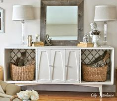 """Take vintage cabinet and take off doors to """"lighten it up"""""""