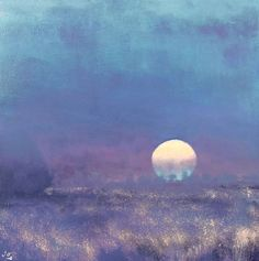 The Fallow Field II, John O'Grady - moonlit nocturne in Provence with a blue moon rising above a field with scattered gold grasses #collectart #nocturne #moon #contemporarylandscapepainting