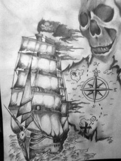Compass, Ship, Skull, Pirate, FAVORITE, the ship starts the underside, and comes anterior up on the shoulder mmmmm damn