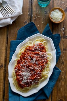 Classic, old school style spaghetti sauce that's a freezer staple!