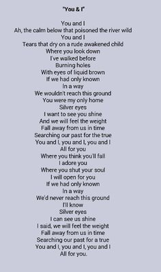 Jeff Buckley You and I lyrics