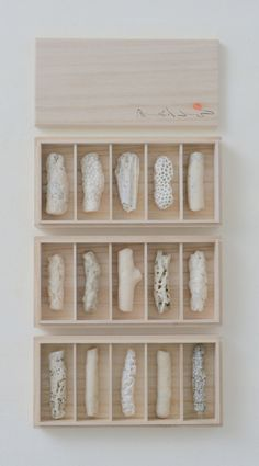 Chopstick Rests.Coral.Paulownia wood box.September 2014.