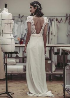 wedding hairstyles open laure de sagazan 2017 bridal short puff sleeves v neck surplice heavily embelished lace bodice elegant column wedding dress open v back sweep train (bukowski) bv -- Laure de Sagazan 2017 Wedding Dresses French Wedding Dress, Open Back Wedding Dress, Elegant Wedding, Trendy Dresses, Short Dresses, Bridal Dresses, Wedding Gowns, Lace Wedding, Column Wedding Dresses