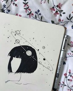 pencil drawings - Uploaded by ️️️× Find images and videos about art, drawing and girl on We Heart It the app to get lost in what you love Art And Illustration, Landscape Illustration, Landscape Art, Mountain Landscape, Art Drawings Sketches, Cute Drawings, Pencil Drawings, Space Drawings, Drawings About Love