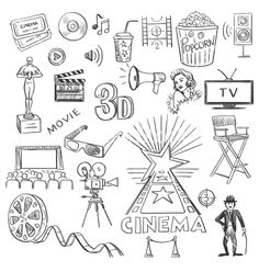 Hand drawn cinema vector doodles - by Netkoff on VectorStock®