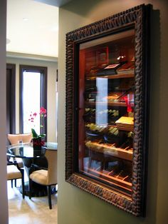 "Built in humidor for the cigar afficionado. This cigar humidor is a bit more stylish than a cabinet. I would love to store my cigars in one of these. ""I would love this in the basement by the bar! Zigarren Lounges, Cigar Bar, Cigar Boxes, Cigar Room, Pipes And Cigars, Creation Deco, Man Room, Smoking Room, House Design"