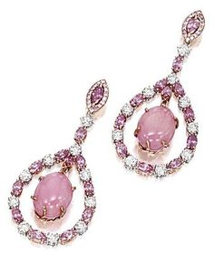 PAIR OF CONCH PEARL, PINK DIAMOND AND DIAMOND PENDENT EARRINGS | lot | Sotheby's