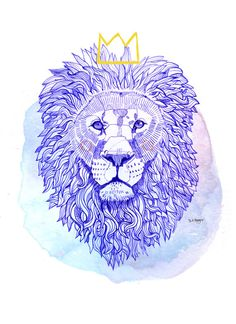 Kingly - Blue Biro - High quality print of original