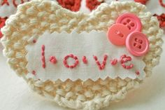 HandKnit LOVE Heart by flaxandtwine on Etsy, $18.00; knitting by Anne Weil