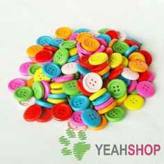 15mm Rainbow Color Wooden Buttons  1 Pack / 50 pcs by yeahshop, $3.60