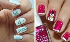 21. White & Blue Snowman Nails Even shorter nails can use a bit of a festive makeover and this white and blue snowman design shows you how to do just that. Just make the snowy white tips a little shorter to keep everything in proportion and you can achieve the same looks as longer nails. …
