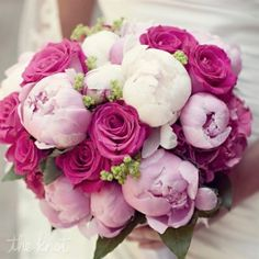 Possible wedding color combo:. Fushia, baby pink and white with green accents –love the flower type too…roses, peonies..