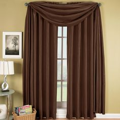 Deluxe Linens Collection Elegance Solid Rod Pocket Window Treatment- Panels, Valances and Scarves to Enhance Your Home décor. in Each Panel, Chocolate Bathroom Window Treatments, Valance Window Treatments, Window Coverings, Sheer Curtain Panels, Window Panels, Drapes Curtains, Valances, Drapery, Curtains Living