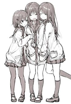 anime this is so PE Dont hug me!!!!!  Yanna on left, me in the middle , and erin on the right lol _gray