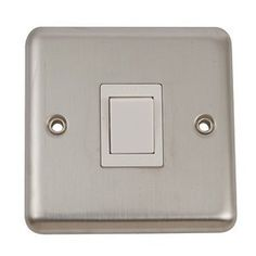 Volex Brushed Stainless 20A Switch with Rounded Edge: Double Pole 20 Amp