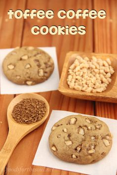 Toffee Coffee Cookies -- so soft, they melt in your mouth. Coffee lovers agree that this is their new favorite cookie! Baking Recipes, Cookie Recipes, Dessert Recipes, Desserts, Candy Bar Cookies, Cupcake Cookies, Healthy Sweets, Healthy Baking, Coffee Cookies