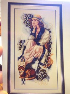 Vervaco Daydreaming Cross Stitch Kit Lady In Hat With Cats W Aida Retired 25.759
