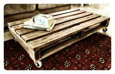 Recycled timber coffee table with wheels