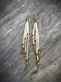 Ivory Empress Finge Earrings - Shoulder Dusters - Bronze, Flame, Gold, Cream Seed Bead Earrings, Tribal Jewelry,