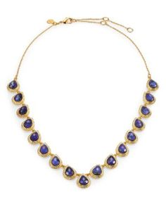 Altuzarra - Alexis Bittar Elements Maldivian Sodalite  White Quartz V Bezel Necklace