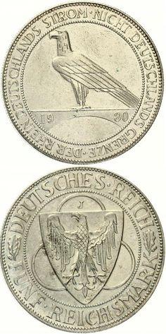5 Mark Rheinlandräumung 1930 J EF+.Price: 250,00 EUR #coins #currency #money