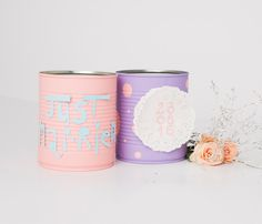 handmade painted cans