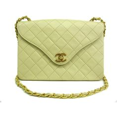 Pre-owned Chanel Lime Green Lambskin Single Flap Shoulder Bag (21.513.165 IDR) ❤ liked on Polyvore featuring bags, handbags, shoulder bags, chanel shoulder bag, flap handbag, zipper purse, lambskin handbag and beige purse