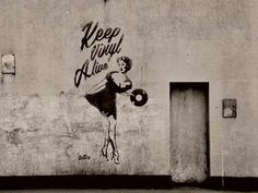 "street graphics - ""Keep Vinyl Rock And Roll, Graffiti Artwork, Vinyl Junkies, Music Images, Street Art Graffiti, Vinyl Art, Public Art, Urban Art, Artsy Fartsy"