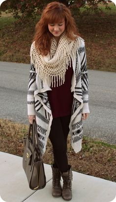 Oversized Aztec Print Cardigan, Leggings, and Combat Boots. Perfect Fall/Winter Outift.