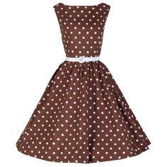 'Audrey' Chocolate Polka Dot Swing Dress