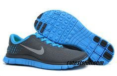 $54.29   Mens Nike Free 4.0 V2 Anthracite Reflect Silver Blue Glow Shoes