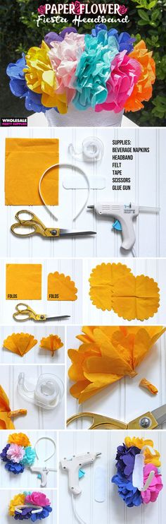 DIY Fiesta Flower Headband - This guide will help you top your mop with a burst of blooms!