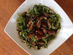 Steamed eggplant salad seasoned with garlic, coriander, Russian black tomatoes, boiled egg and balsamic vinegar